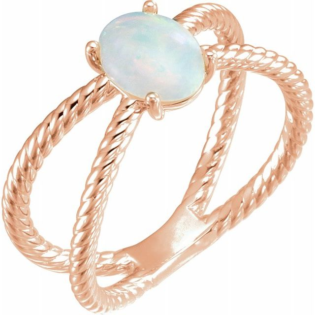 Natural Opal Ring in 14 Karat Rose Gold 6x4 mm Opal Criss-Cross Rope Ring