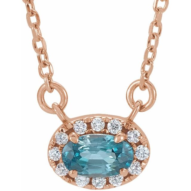 Genuine Zircon Necklace in 14 Karat Rose Gold 6x4 mm Oval Genuine Zircon & 1/10 Carat Diamond 18