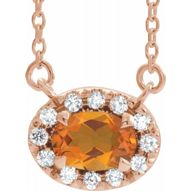 Golden Citrine Necklace in 14 Karat Rose Gold 6x4 mm Oval Citrine & 1/10 Carat Diamond 18