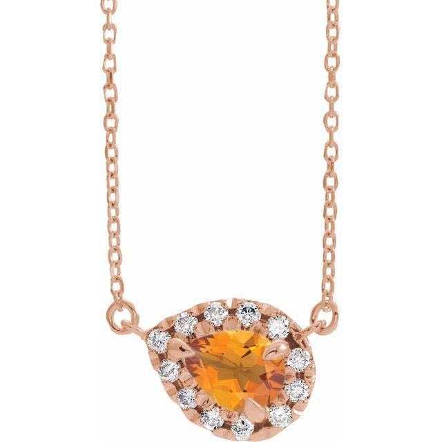 Golden Citrine Necklace in 14 Karat Rose Gold 6x4 mm Pear Citrine & 1/6 Carat Diamond 16