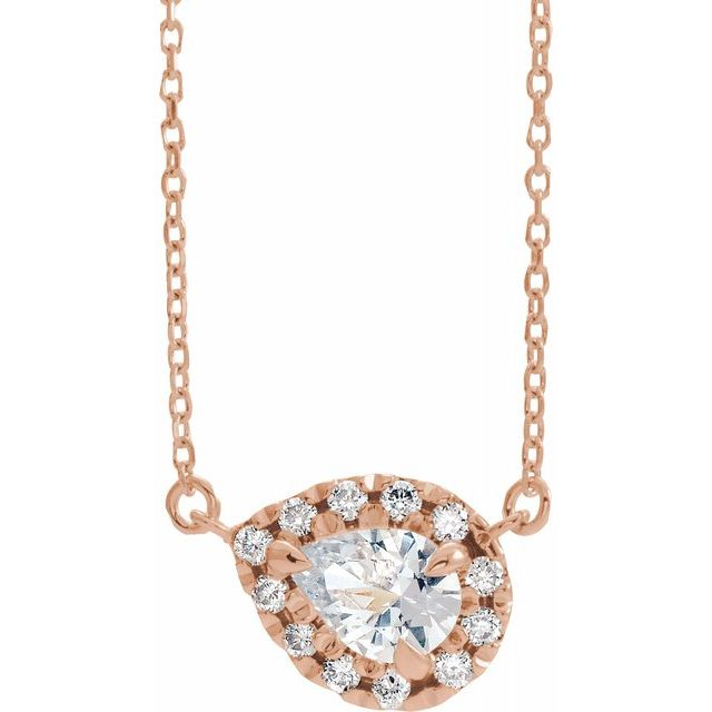 Genuine Sapphire Necklace in 14 Karat Rose Gold 6x4 mm Pear White Sapphire & 1/6 Carat Diamond 16