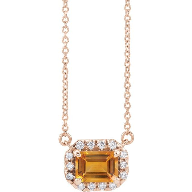 Golden Citrine Necklace in 14 Karat Rose Gold 7x5 mm Emerald Citrine & 1/5 Carat Diamond 18
