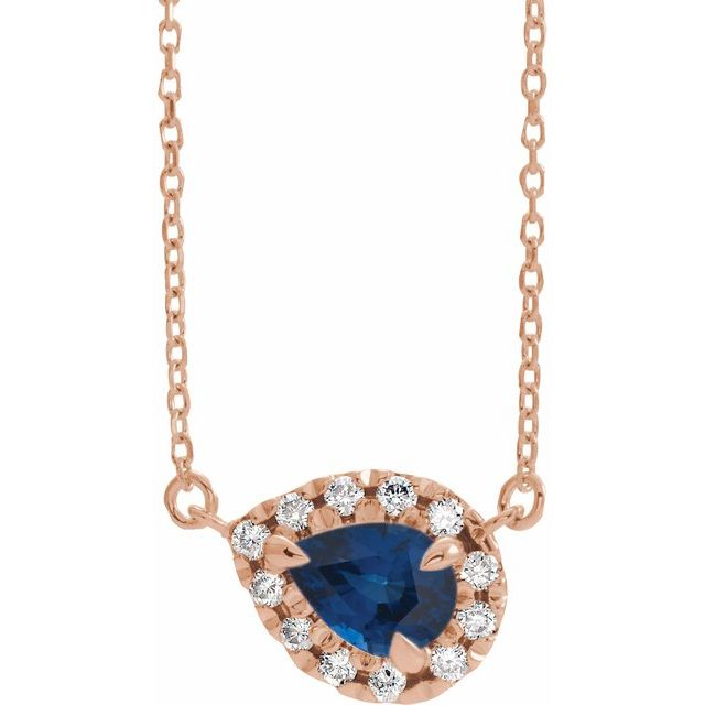 Genuine Sapphire Necklace in 14 Karat Rose Gold 8x5 mm Pear Genuine Sapphire & 1/5 Carat Diamond 16