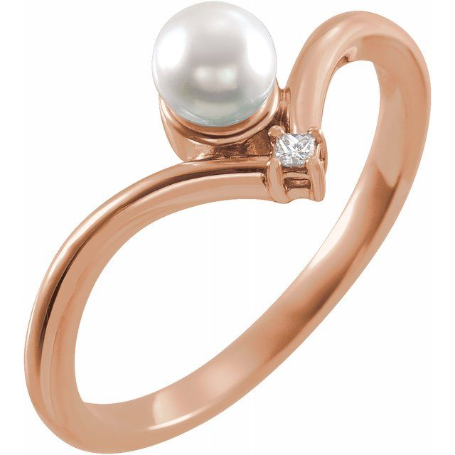 White Akoya Pearl Ring in 14 Karat Rose Gold Akoya Cultured Pearl & .025 Carat Diamond Ring
