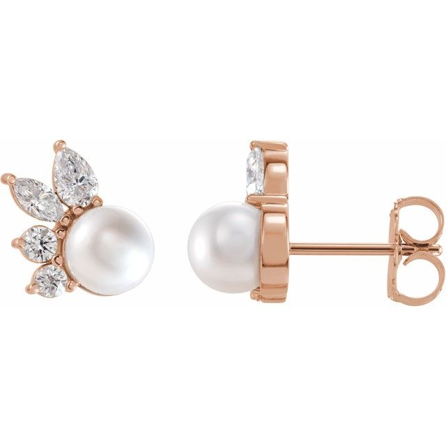 Cultured Akoya Pearl Earrings in 14 Karat Rose Gold Akoya Cultured Pearl & .05 Carat Diamond Earrings