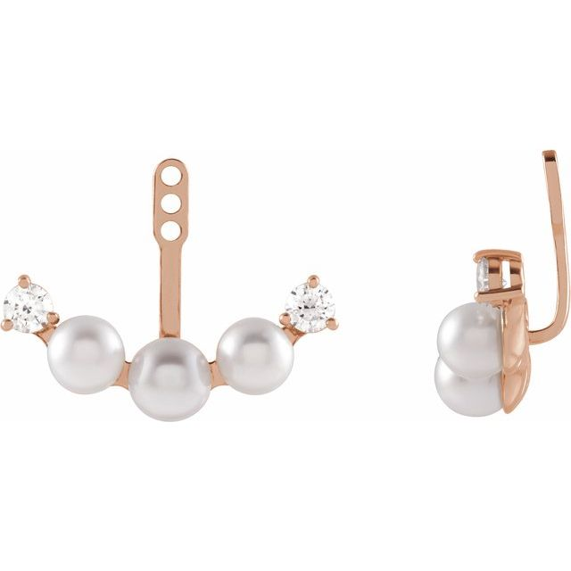 White Akoya Pearl Earrings in 14 Karat Rose Gold Akoya Pearl & 1/4 Carat Diamond Earring Jackets