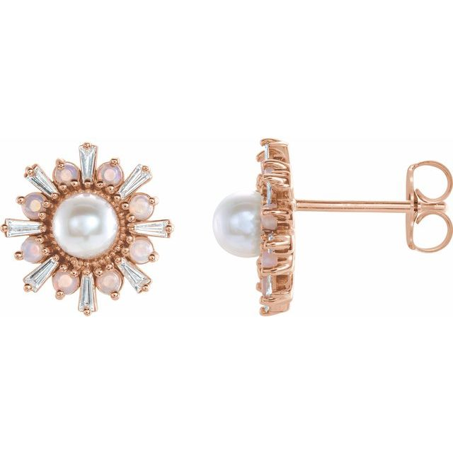 Cultured Akoya Pearl Earrings in 14 Karat Rose Gold Akoya Pearl, White Opal & 1/6 Carat Diamond Earrings