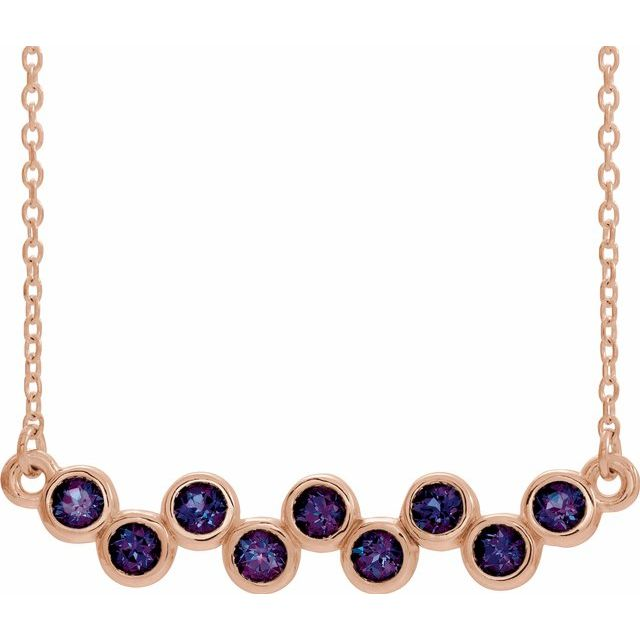 Genuine Alexandrite Necklace in 14 Karat Rose Gold Alexandrite Bezel-Set Bar 16-18