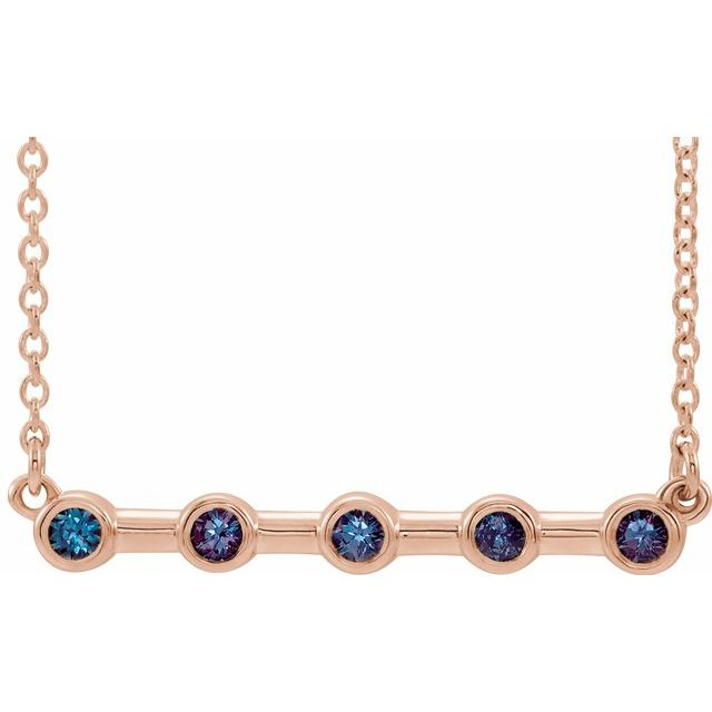 Genuine Alexandrite Necklace in 14 Karat Rose Gold Alexandrite Bezel-Set Bar 18