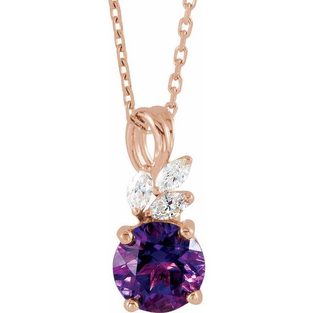 Genuine Amethyst Necklace in 14 Karat Rose Gold Amethyst & 1/10 Carat Diamond 16-18