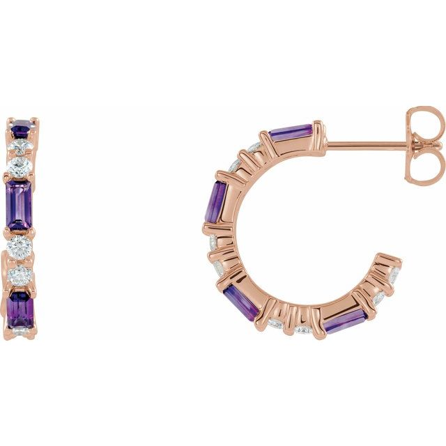 Genuine Amethyst Earrings in 14 Karat Rose Gold Amethyst & 1/2 Carat Diamond Earrings