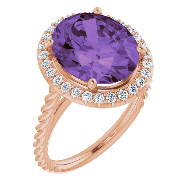 Genuine Amethyst Ring in 14 Karat Rose Gold Amethyst & 1/4 Carat Diamond Ring