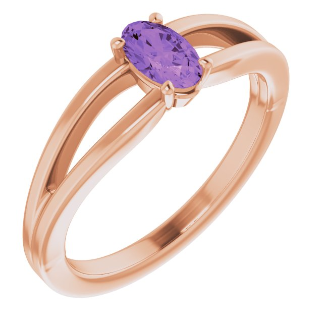 Genuine Amethyst Ring in 14 Karat Rose Gold Amethyst Solitaire Youth Ring