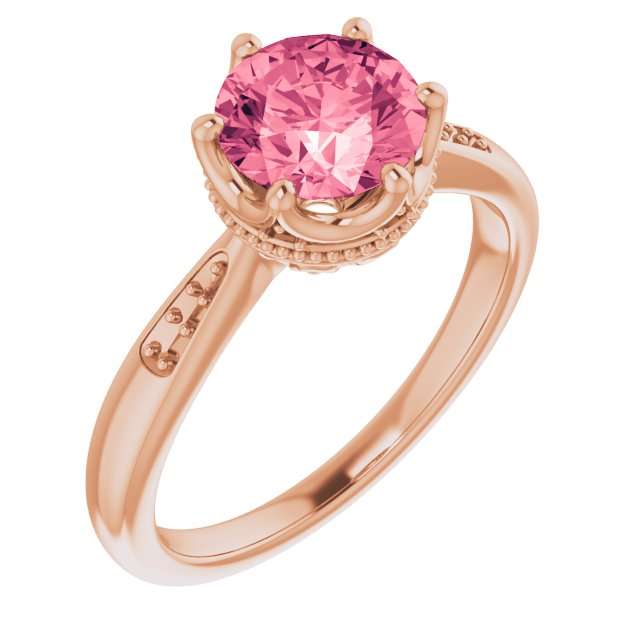 Genuine Topaz Ring in 14 Karat Rose Gold Baby Pink Topaz & .06 Carat Diamond Ring