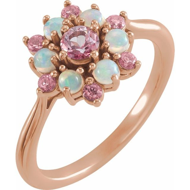Genuine Topaz Ring in 14 Karat Rose Gold Baby Pink Topaz & Ethiopian Opal Floral-Inspired Ring