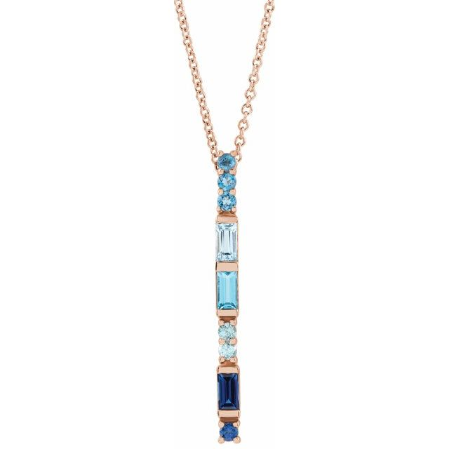 Multi-Gemstone Necklace in 14 Karat Rose Gold Genuine Multi-Gemstone Bar 16-18