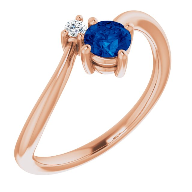 Genuine Sapphire Ring in 14 Karat Rose Gold Genuine Sapphire & .025 Carat Diamond Ring