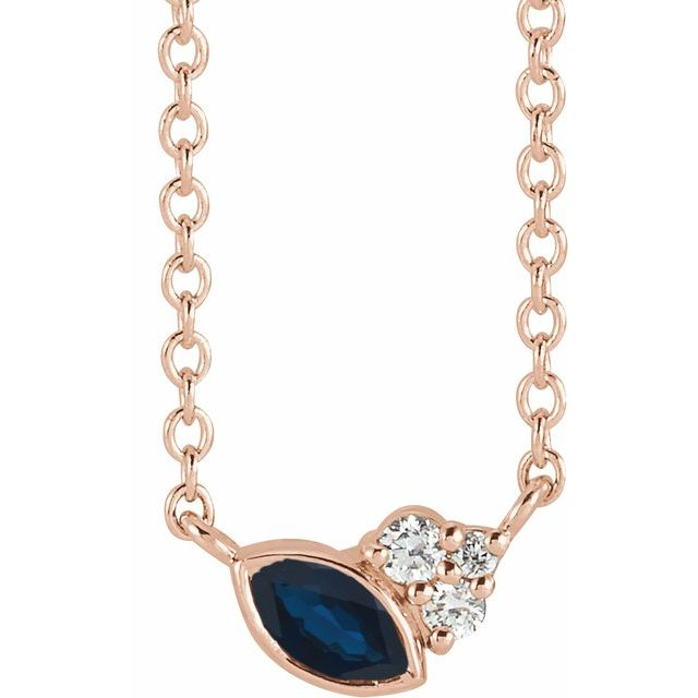 Genuine Sapphire Necklace in 14 Karat Rose Gold Genuine Sapphire & .03 Carat Diamond 16