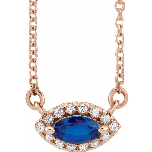 Genuine Sapphire Necklace in 14 Karat Rose Gold Genuine Sapphire & .05 Carat Diamond Halo-Style 18