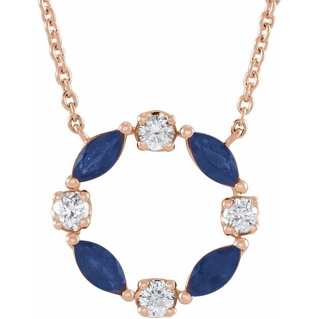 Genuine Sapphire Necklace in 14 Karat Rose Gold Genuine Sapphire & 1/10 Carat Diamond Circle 18