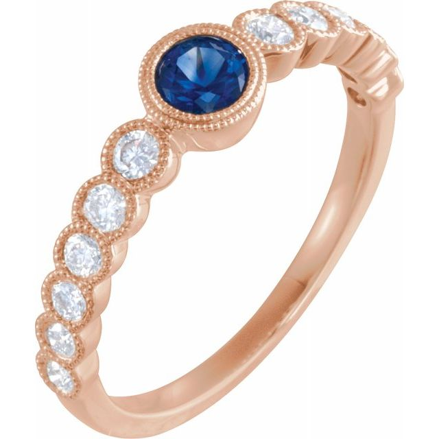 Genuine Sapphire Ring in 14 Karat Rose Gold Genuine Sapphire & 1/2 Carat Diamond Ring