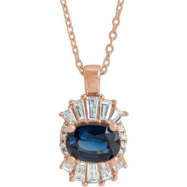 Genuine Sapphire Necklace in 14 Karat Rose Gold Genuine Sapphire & 1/3 Carat Diamond 16-18