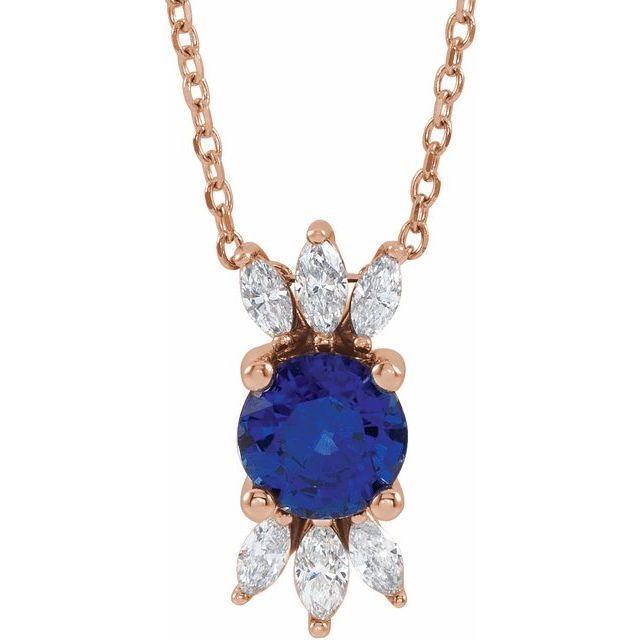 Genuine Sapphire Necklace in 14 Karat Rose Gold Genuine Sapphire & 1/4 Carat Diamond 16-18