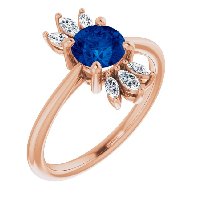 Genuine Sapphire Ring in 14 Karat Rose Gold Genuine Sapphire & 1/4 Carat Diamond Ring