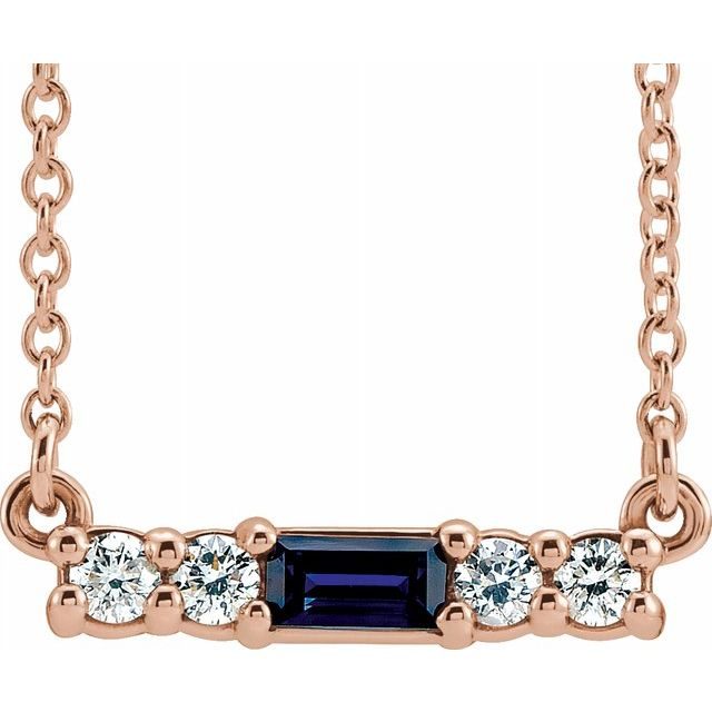 Genuine Sapphire Necklace in 14 Karat Rose Gold Genuine Sapphire & 1/5 Carat Diamond 18