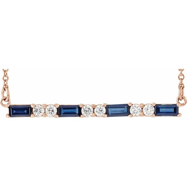 Genuine Sapphire Necklace in 14 Karat Rose Gold Genuine Sapphire & 1/5 Carat Diamond Bar 16-18