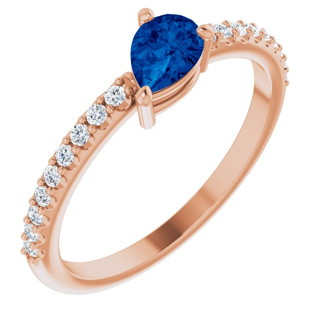 Genuine Sapphire Ring in 14 Karat Rose Gold Genuine Sapphire & 1/6 Carat Diamond Ring