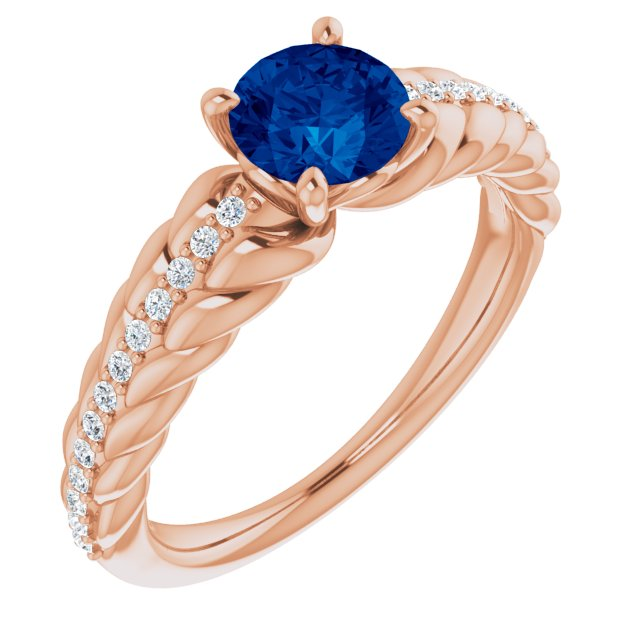 Genuine Sapphire Ring in 14 Karat Rose Gold Genuine Sapphire & 1/8 Carat Diamond Ring