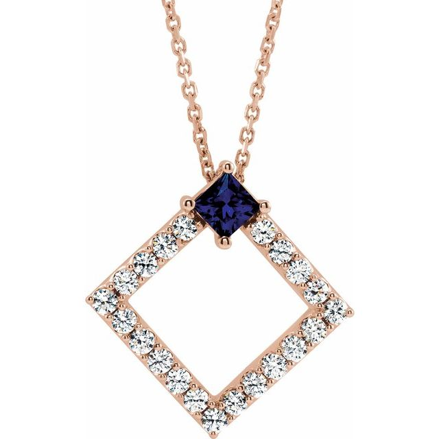 Genuine Sapphire Necklace in 14 Karat Rose Gold Genuine Sapphire & 3/8 Carat Diamond 16-18