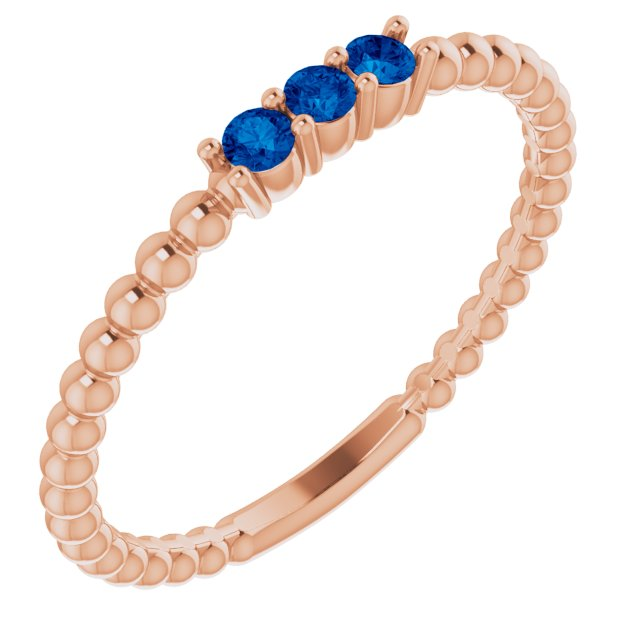 Genuine Sapphire Ring in 14 Karat Rose Gold Genuine Sapphire Beaded Ring