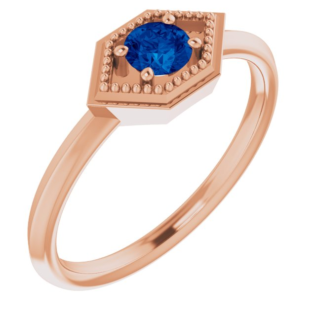 Genuine Sapphire Ring in 14 Karat Rose Gold Genuine Sapphire Geometric Ring
