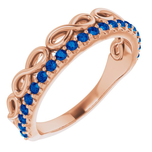 Genuine Sapphire Ring in 14 Karat Rose Gold Genuine Sapphire Infinity-Inspired Stackable Ring