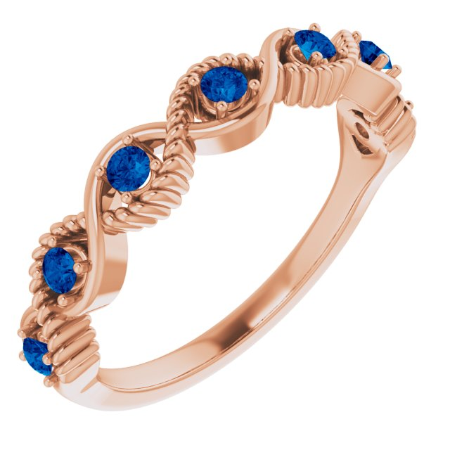 Genuine Sapphire Ring in 14 Karat Rose Gold Genuine Sapphire Stackable Ring