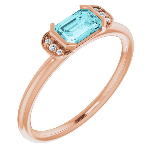 Genuine Zircon Ring in 14 Karat Rose Gold Genuine Zircon & .02 Carat Diamond Stackable Ring