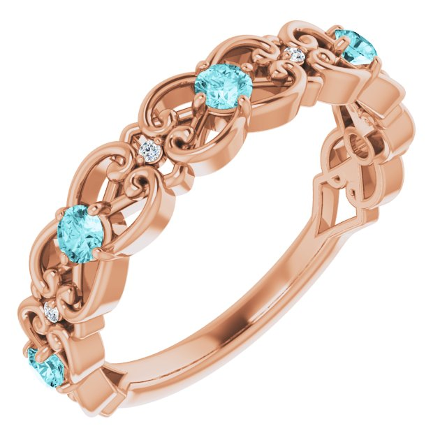Genuine Zircon Ring in 14 Karat Rose Gold Genuine Zircon & .02 Carat Diamond Vintage-Inspired Scroll Ring