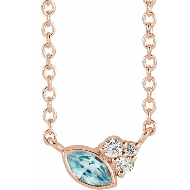 Genuine Zircon Necklace in 14 Karat Rose Gold Genuine Zircon & .03 Carat Diamond 18
