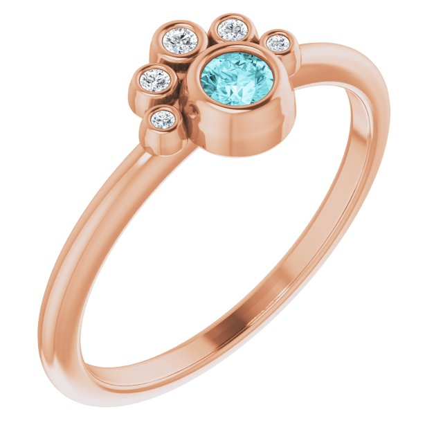 Genuine Zircon Ring in 14 Karat Rose Gold Genuine Zircon & .04 Carat Diamond Ring