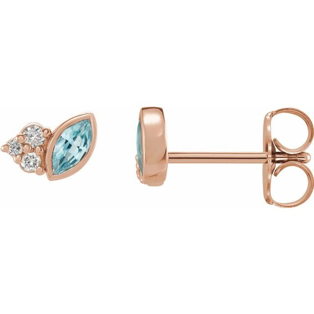 Genuine Zircon Earrings in 14 Karat Rose Gold Genuine Zircon & .05 Carat Diamond Earrings
