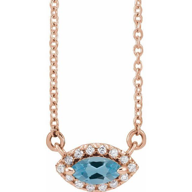 Genuine Zircon Necklace in 14 Karat Rose Gold Genuine Zircon & .05 Carat Diamond Halo-Style 18