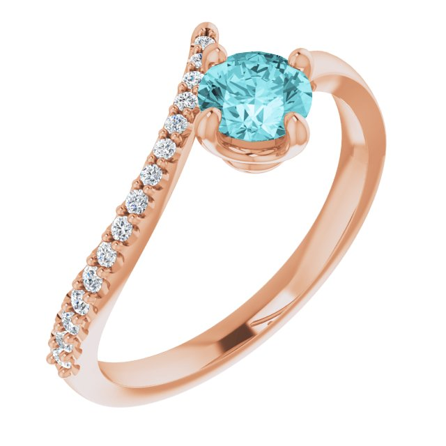 Genuine Zircon Ring in 14 Karat Rose Gold Genuine Zircon & 1/10 Carat Diamond Bypass Ring