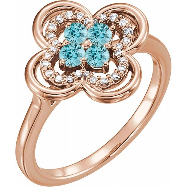 Genuine Zircon Ring in 14 Karat Rose Gold Genuine Zircon & 1/10 Carat Diamond Ring
