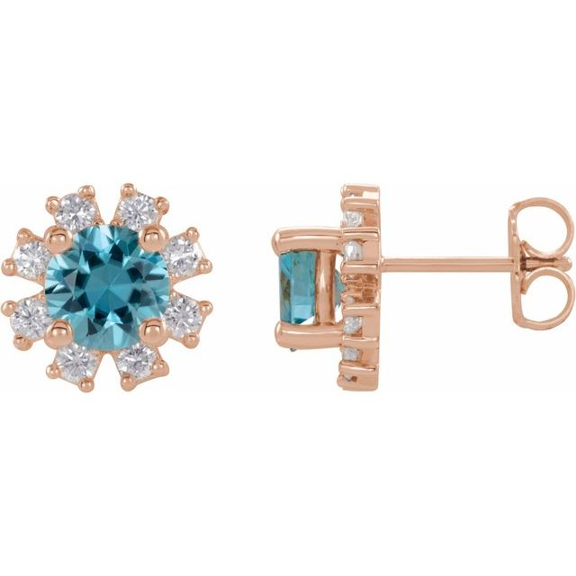 Genuine Zircon Earrings in 14 Karat Rose Gold Genuine Zircon & 1/2 Carat Diamond Earrings