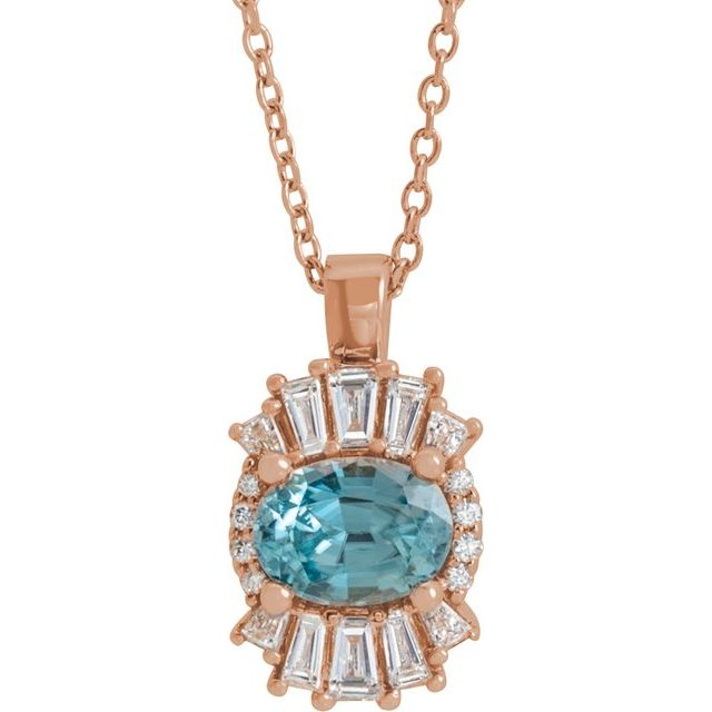 Genuine Zircon Necklace in 14 Karat Rose Gold Genuine Zircon & 1/3 Carat Diamond 16-18