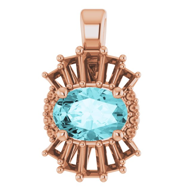 Genuine Zircon Pendant in 14 Karat Rose Gold Genuine Zircon & 1/3 Carat Diamond Pendant
