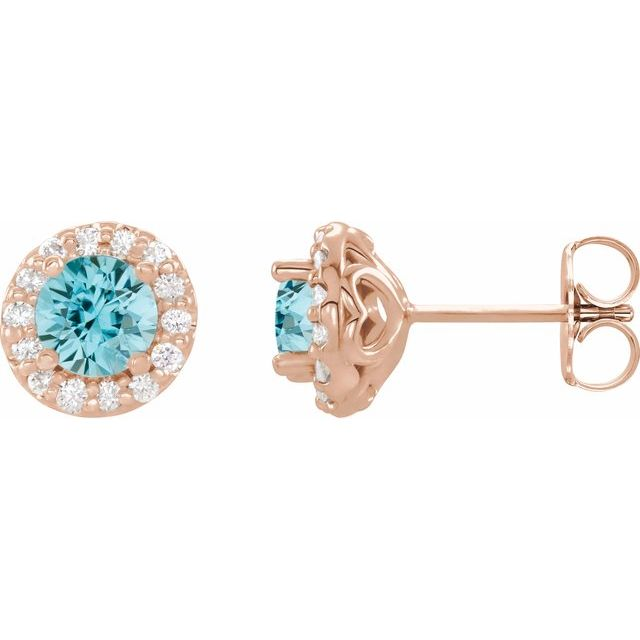 Genuine Zircon Earrings in 14 Karat Rose Gold Genuine Zircon & 1/4 Carat Diamond Earrings