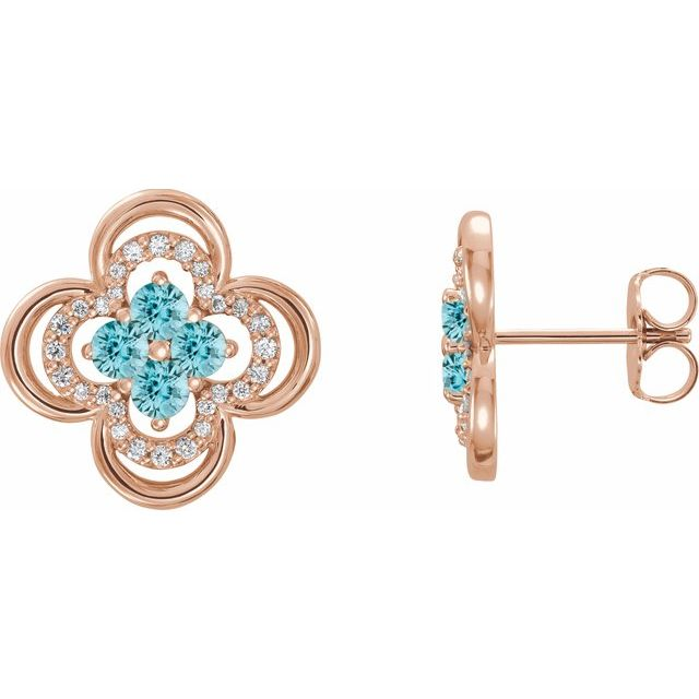 Genuine Zircon Earrings in 14 Karat Rose Gold Genuine Zircon & 1/5 Carat Diamond Clover Earrings